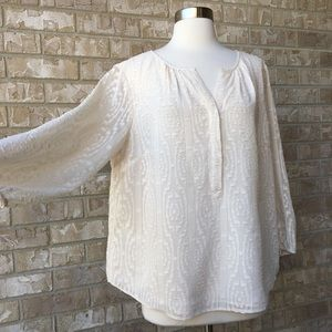 Talbots Lined Long Sleeve Top Blouse Size L 🌸